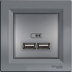 Розетка с 2-мя USB сталь Asfora Schneider