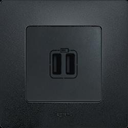 Розетка с USB Etika (Антрацит)