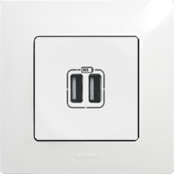 Розетка с 2-мя USB белый Etika Legrand