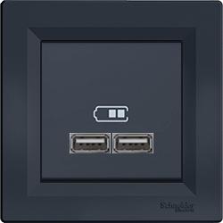 Розетка c USB антрацит Asfora