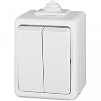 Выключатель 2-кл белый Praktik IP44 ABB