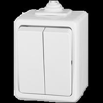 Выключатель 2-кл проходной белый Praktik IP44 ABB