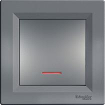 Выключатель 1-кл. с подсветкой сталь Asfora Schneider