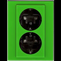 Розетка 2-ная с з/к зеленый Levit ABB