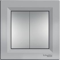 Выключатель 2-кл. проходной серебристый Asfora Schneider