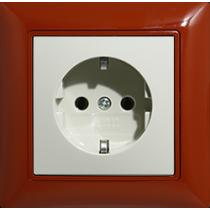 Розетка с з/к красный foyer Basic55 ABB