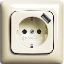 Розетка с з/к и USB сл.кость Busch-Duro 2000 ABB