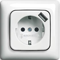Розетка с з/к с USB 214 Busch-Duro / Spring