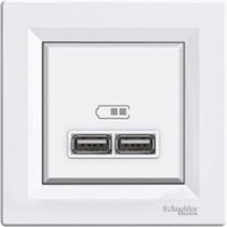 Розетка с USB білий Asfora