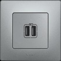 Розетка с USB Etika (Алюминий)