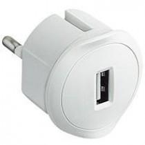 Адаптер с USB зарядкой белый Legrand