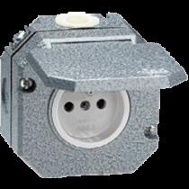 Розетка с з/к с крышкой серый Garant IP55 ABB