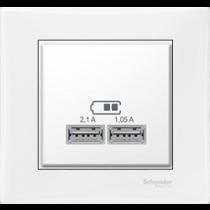 Розетка з USB білий Sedna