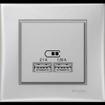 Розетка з USB алюміній Sedna